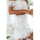 Lace Trim Mini Bustier Dress Girls Plain Strapless Short Sleeve Fitted Party Gown