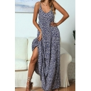 Summer A-Line Dress Disty Floral Pattern Elastic V Neck Sleeveless Womens Loose Fitted Long Cami Dress