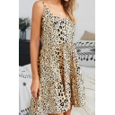 Cuty Girls Cami Dress Leopard Print Tie Back Arched Neck Sleeveless Loose Fit Short Dress