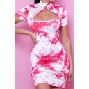 Retro Womens Dress Tie Dye Hollow out Detail Mock Neck Mini Short Sleeve Slim Fitted Bodycon Dress