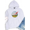 Womens Hoodie Chic Landscape Letter NASA Pattern Kangaroo Pocket Drawstring Long Sleeve Relaxed Fitted Hooded Sweatshirt