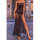 Womens Dress Chic Ruched Mesh High Slit Front Lace up Open-Back Spaghetti Strap Sleeveless Slim Fitted Maxi Bodycon Dress