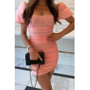 Novelty Womens Dress Solid Color Ruched Invisible Zipper See-Through Mesh Patchwork Mini Slim Fitted Short Puff Sleeve Sweetheart Neck Bodycon Dress