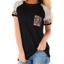 Cozy Tee Top Contrast Panel Color Block Leopard Print Round Neck Short Sleeve Regular Fit T-Shirt for Women