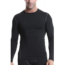 Vintage Mens Tee Top Flatlock Seam Thick Quick Dry Stretch Skinny Fitted Long Sleeve Crew Neck Tee Top