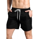 Vintage Mens Shorts Reflective Tape Quick-Dry Breathable Drawstring Waist Regular Fitted Beach Shorts