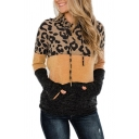 All-Match Women's Hooded Sweatshirt Color Block Leopard Pattern Drawstring Front Big Pocket Long Sleeves Fitted Hoodie