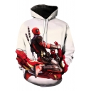 New Stylish Funny 3D Comic Figure Print Long Sleeve White Loose Fit Hoodie
