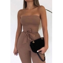 Creative Womens Jumpsuit Solid Color Rib Knit Tie-Waist Purified Cotton Slim Fitted Strapless Jumpsuit