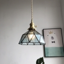 1-Head Barn Pendant Lighting Fixture Retro Blue/Clear/Amber Water Glass Ceiling Hang Light for Dining Room