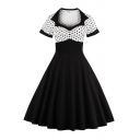 Classic Womens Dress Color Block Polka Dot Pattern Button Decoration Short Sleeve Midi A-Line Slim Fitted Sweetheart Neck Swing Dress
