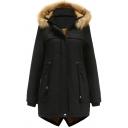 Creative Womens Parkas Solid Color Thickened Detachable Fur-Trimmed Hood Drawstring Waist Split-Hem Zipper up Slim Fit Long Sleeve Mid-Length Parkas
