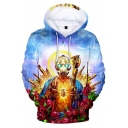 New Popular Unique Cool 3D Game Buddha Printed Long Sleeve Loose Sport Blue Hoodie