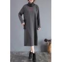 All-Match Women's Sweatshirt Dress Patchwork Contrast Hem Big Pocket High Neck Long Sleeves Relaxed Fit Midi Sweatshirt Dress