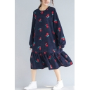 Youthful Sweatshirt Dress Cherry Embroidered Ruffles Corduroy Bishop Sleeves Crew Neck Relaxed Fit Sweatshirt Dress for Women