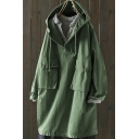 Street Style Coat Solid Color Button Details Drawstring Hooded Pockets Long Sleeves Relaxed Fitted Cotton Trench Coat for Women
