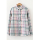 Womens Shirt Stylish Plaid Print Thick Button up Point Collar Long Sleeve Loose Fit Shirt with Chest Pocket