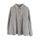 Womens Shirt Chic Pinstripe Pattern Chest Pocket Button down Long Sleeve Ingot Collar Loose Fit Shirt