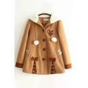 Classic Womens Coat Contrast Panel Heart Bowknot Decoration Fuzzy-Ball Drawstring Button up Hooded Loose Fit Long Sleeve Woolen Coat