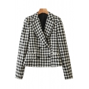 Womens Jacket Casual Checkered Print Double Breasted Slim Fit Long Sleeve Lapel Collar Suit Jacket
