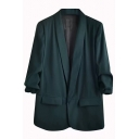 Classic Womens Jacket Plain Pocket Flap Design Open-Front Lapel Collar Slim Fit Long Sleeve Suit Jacket