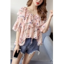 Womens Summer Fashion Pink Floral Print Ruffled Tied Collar Flared Sleeve Casual Chiffon Blouse