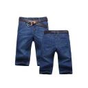 Casual Simple Plain Zip-fly Men's Stretch Fit Denim Shorts