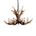 6/8-Head Exposed Bulb Designed Chandelier Rustic Brown Resin Antler Hanging Ceiling Light