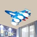 Fighter Plane Flush Mount Ceiling Light Kids Wooden 4-Bulb Bedroom Flush Mount Fixture in Blue