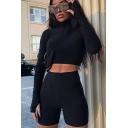 Creative Womens Co-ords Plain Slim Fitted Shorts Turn-down Collar Long Sleeve Zipper Detail Cropped Tee Jogger Co-ords