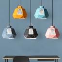 Laser Cut Ceiling Hanging Lantern Macaron Metal Single Blue/Grey/Pink Pendant Light Fixture with Mesh Design