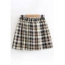 Casual Classic Elastic Waist Plaid Patterned Short Pleated A-Line Skirt for Girls