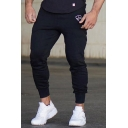 Mens Pants Unique Crown Print Side Seam Pockets Cuffed Drawstring Waist Ankle Length Slim Fit Tapered Jogger Pants