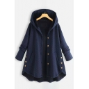 Womens Coat Simple Plain Asymmetric Hem Button down Long Sleeve Loose Fit Mid-Length Hooded Coat