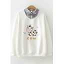 Womens Graphic Sweatshirt Trendy Cow Pattern Long Sleeve False Two Pieces Turn-down Collar Loose Fit Pullover Sweatshirt