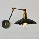 Single Adjustable Wall Lighting Fixture Loft Scalloped Metal Reading Wall Lamp in Black/White, 8