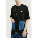 Fashion T-Shirt Patchwork Pockets Short Sleeve Crew Neck Oversize Fit Tee Top for Men