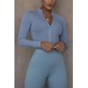 Womens Bodysuit Fashionable Plain Milk Silk Stand Collar Zipper Front Slim Fitted Long Sleeve Bodysuit