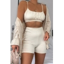 Womens Co-ords Trendy Solid Color Ruched-Bust Detail Sleeveless Spaghetti Strap Cropped Camisole Slim Fitted Shorts Co-ords
