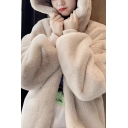 Stylish Hooded Jacket Solid Color Plush Contrast Trim Banded Cuffs Long Sleeves Relaxed Fit Sherpa Jacket