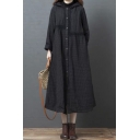 Stylish Women's Coat Contrast Plaid Embroidered Pattern Button-down Long-sleeved Relaxed Fit Midi Coat