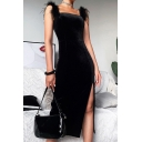Womens Dress Stylish Solid Color Suede Feather Detail High-Slit Slim Fitted Midi Bodycon Sleeveless Strap Dress