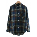 Womens Shirt Casual Plaid Print Button up Spread Collar Long Sleeve Loose Fit Shirt with Chest Pocket