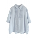 Retro Womens Shirt Solid Color Accordion Pleated Point Collar Button Detail Loose Fit 3/4 Sleeve Shirt