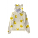 Novelty Womens Hoodie Yellow-Duck Monster Letter Pattern Cat Ear Drawstring Long Sleeve Relaxed Fitted Hoodie