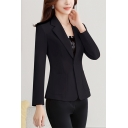 New Trendy Notched Lapel Long Sleeve Simple Plain Fitted Blazer with Double Buttons