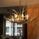 Lodge Style Antler Chandelier Lamp 8 Heads Resin Pendant Lighting Fixture in Brown