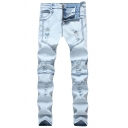 Mens Retro Solid Color Stretch Fitted Light Blue Ripped Jeans