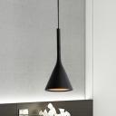 Aluminum Funnel Pendant Lamp Macaron Single Matte Black/Red/White Pendulum Light for Open Kitchen