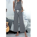 Girls Sleeveless Home Jumpsuits Arched-Neckline Drawstring Regular Fit Jumpsuits with Pocket